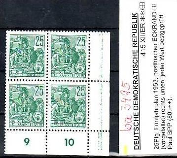 DDR  Nr. 4x 415 XII  geprüft      **      ( ba 3495   ) siehe Bild