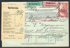 D.-Reich Germania Paketkarte  EF.Nr. 94  in die Schweiz  (ba 3853 ) siehe scan