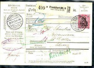 D.-Reich Germania Paketkarte  EF.Nr. 93   in die Schweiz  (ba 3854 ) siehe scan