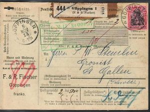 D.-Reich Germania Paketkarte  EF.Nr. 93   in die Schweiz  (ba 3856 ) siehe scan