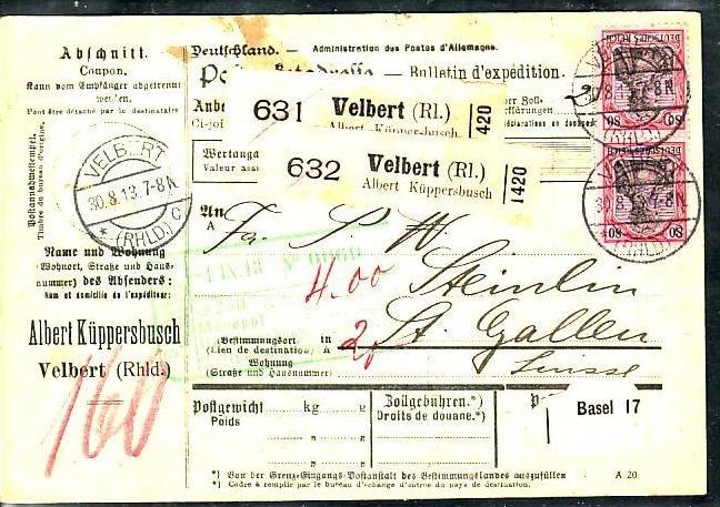 D Reich Paketkarte In Die Schweiz Mef 80 Pfgermania Ba3857