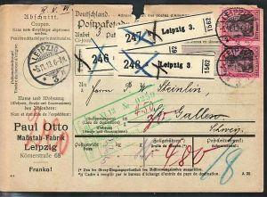 D.-Reich Paketkarte in die Schweiz  MEF . 80 Pf.Germania (ba3858 ) siehe scan