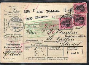 D.-Reich Paketkarte in die Schweiz  MEF . 80 Pf.Germania (ba3861 ) siehe scan