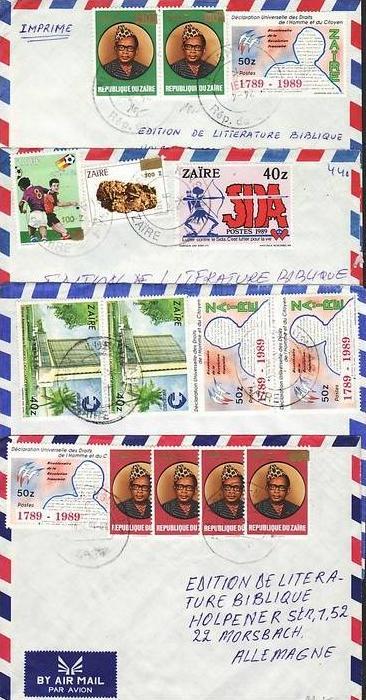 Zaire  Lot von 7 Luftpostbriefen  (ba3809 ) siehe scan