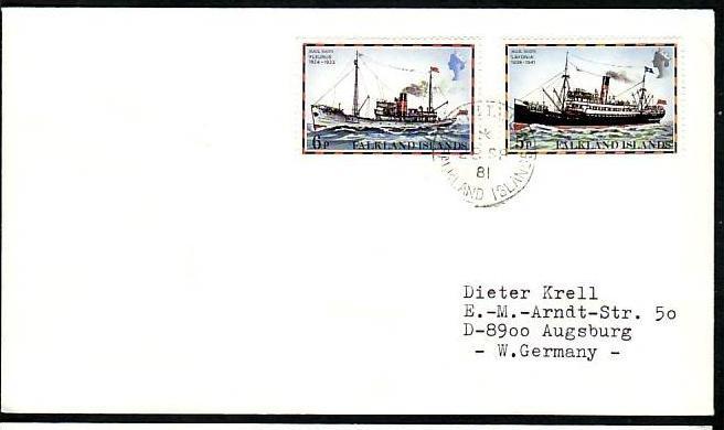 Polarpost-Schiffspost  Beleg   Falkland I.  (ba3887 ) siehe scan