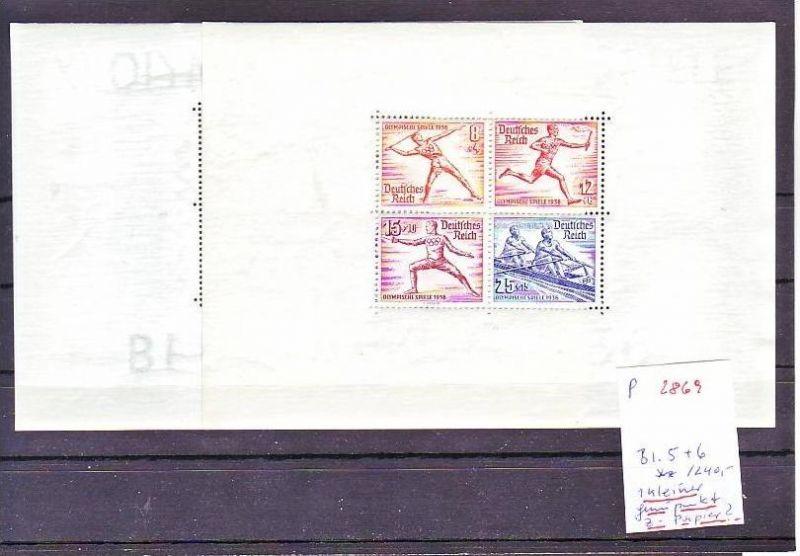 D.-Reich Block  5+6 ** 1 kleiner Gummipunkt ! vermute z-Papier !   ( p2869  ) siehe scan