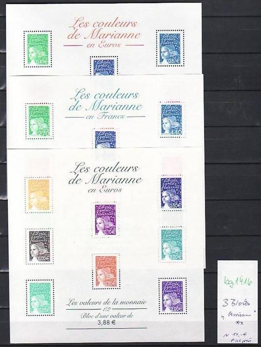 Frankreich  3 Blocks Mariannen  ** (bg 1416  )