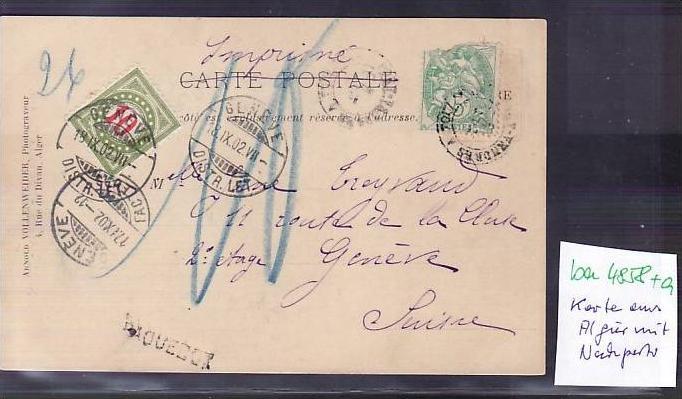 Algier alte Karte mit Nachporto in die Schweiz    (ba4858 ) siehe scan