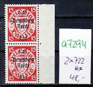 D.-Reich Nr. 2x 722  **  ( a7294 ) siehe scan