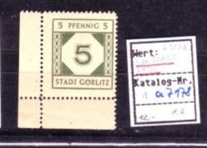 SBZ- Lokalpost -Görlitz  Nr. 1  PLATTENFEHLER  **   (a7178 ) siehe scan