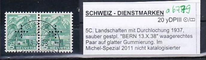 Schweiz  Abart Nr. Dienst   2x 20 yDP  III (a6779 ) siehe scan