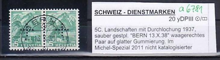 Schweiz  Abart Nr. Dienst    2x20 yDP  III (a6781 ) siehe scan