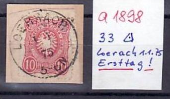 D.-Reich Nr. 33 Briefstück  ERSTTAGSSTEMPEL !  (a1898 ) siehe scan