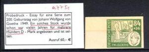 DDR  Nr. PROBEDRUCK Goethe selten !  ( a7751  ) siehe scan