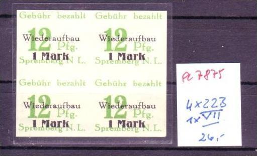 Spremberg Nr. 4x 22 B /1x VII   ** (a7875 ) siehe scan