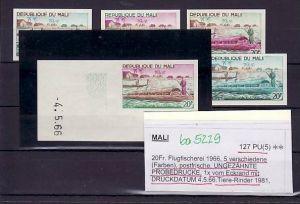 Mali   Nr.  127 PU  5  Farbproben   ** rare  (ba 5229 ) siehe scan