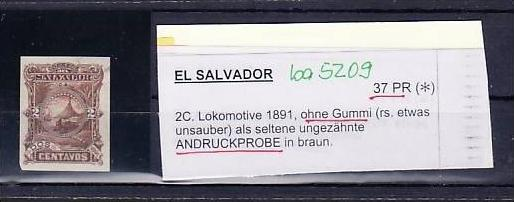 El Salvator  37 PR (*) Probedruck braun   - rare  (ba 5209 ) siehe scan
