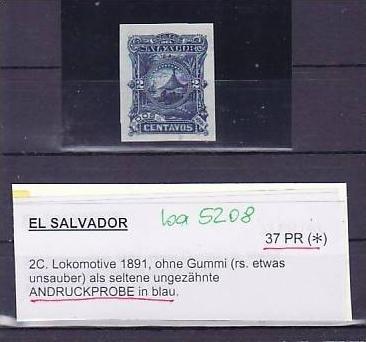 El Salvator  37 PR (*) Probedruck blau   - rare  (ba 5208 ) siehe scan