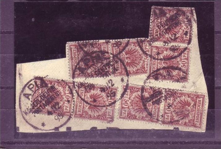 Kolonien - Samoa Briefstück mit 8x V50d  ( p2985  ) siehe scan-vergrößert