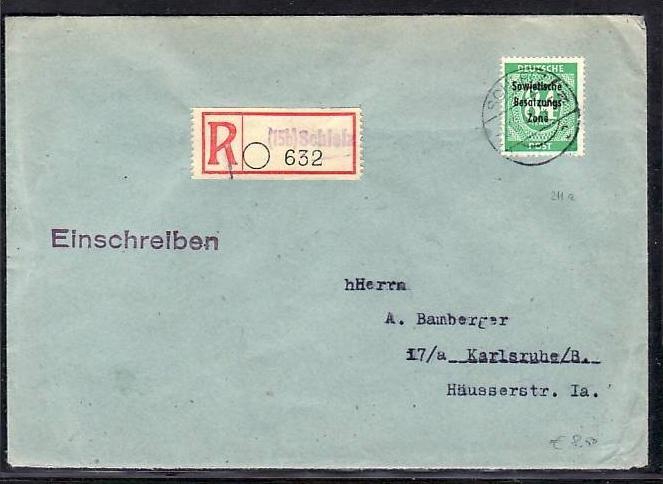 SBZ -Beleg  - Schleiz   (ba5894 ) siehe scan