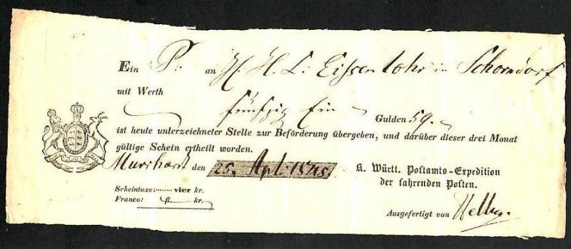 Würtemberg  Postschein    ( zz1574 ) siehe scan