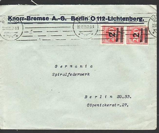 D.-Reich Infla -Firmenpost  Beleg  (ba6476 ) siehe  Bild