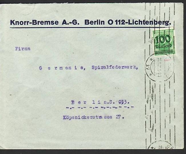 D.-Reich Infla -Firmenpost  Beleg  (ba6461 ) siehe  Bild