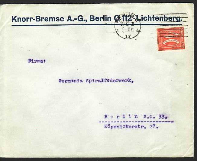 D.-Reich Infla -Firmenpost  Beleg  (ba6441 ) siehe  Bild
