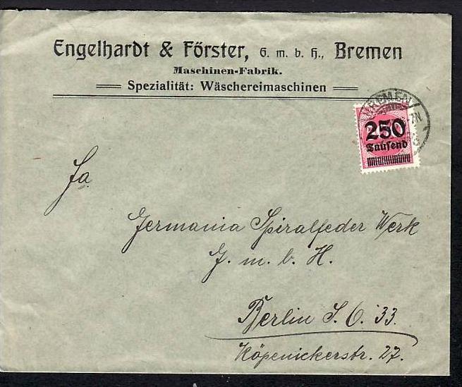 D.-Reich Infla -Firmenpost  Beleg  (ba6468 ) siehe  Bild