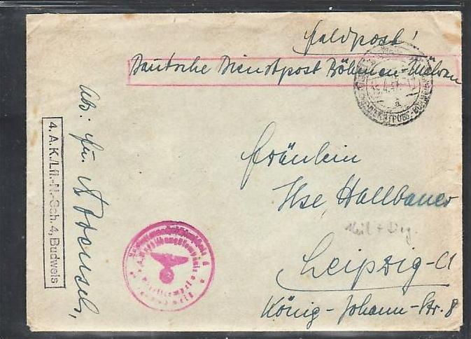 Böhmen & Mähren Feldpost Brief  (ba 7333  ) siehe scan  !