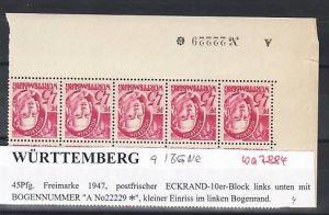 Würtemberg  10er Block   9  BGNR   **( ba7884  ) siehe scan !
