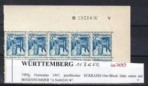 Würtemberg  10er Block   11  BGNR   **( ba7883  ) siehe scan !