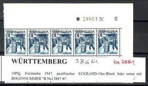Würtemberg  10er Block   3  BGNR   **( ba7881  ) siehe scan !