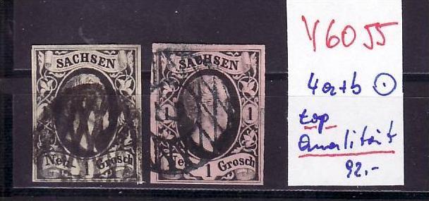 Schönes   Sachsen   Nr.4a+b   in sehr guter Qualität  (y6055  ) siehe scan -vergrößert !!