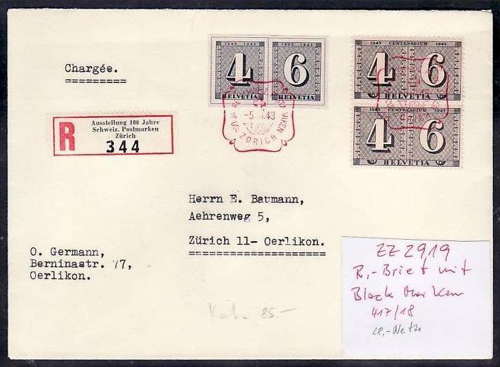 Schweiz R Brief Mit Blockmarken 417 18 Zz2919 Siehe Scan