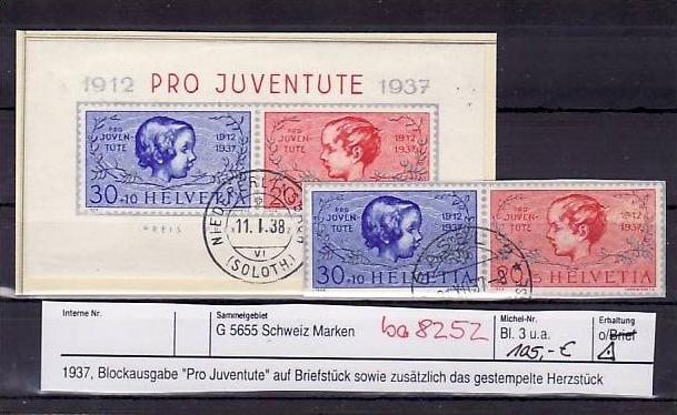 Schweiz   Block 3  + Herzstück   o   (ba8252  ) siehe scan vergrößert !