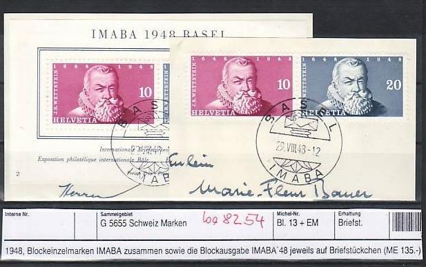 Schweiz   Block 13 + Block Marken  Sonder-  o   (ba8254  ) siehe scan vergrößert !
