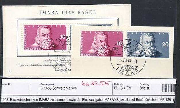 Schweiz   Block 13 + Block Marken  Sonder-  o   (ba8255  ) siehe scan vergrößert !