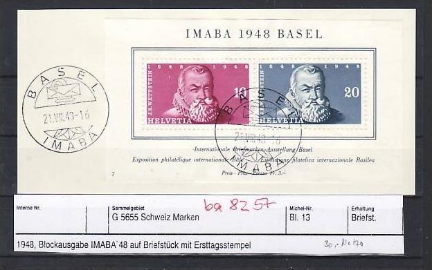 Schweiz   Block 13 + Block Marken  Sonder-  o   (ba8257  ) siehe scan vergrößert !