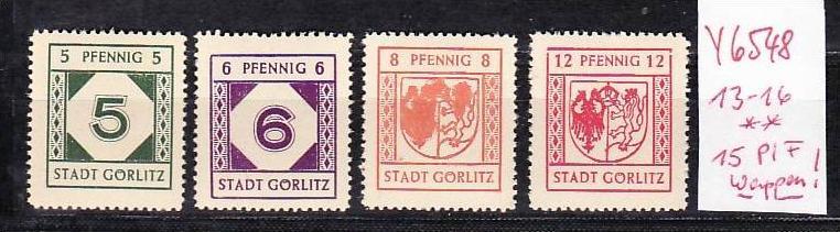 Görlitz   Nr. 13-16  Nr.15 Plattenfehler   ** ( y6548 ) siehe scan