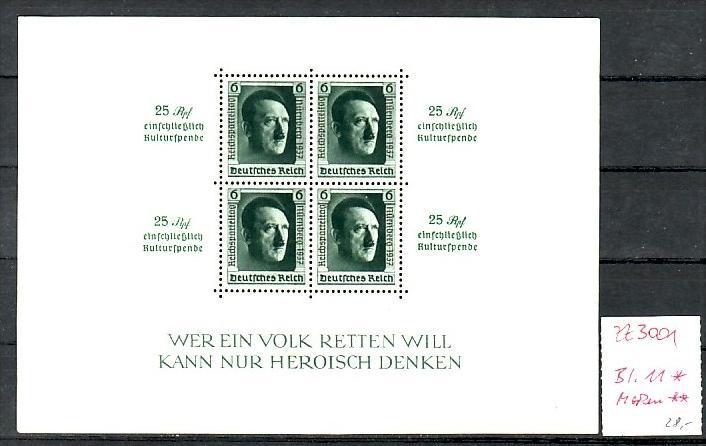 D.-Reich  Block  11  */Marken **  ( zz 3001  ) siehe scan !!