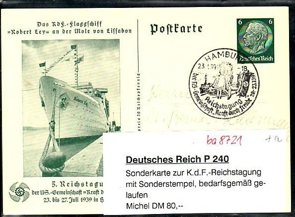 D.-Reich Ganzsache  K.d.F.  o   (ba8721  ) siehe scan  !