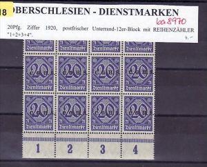 Oberschlesien 12er Block 20 Pf. **  mit Reihenzähler     (ba 8970  ) siehe scan  !