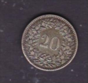 Schweiz  20 Rappen  1858  selten   (x1497 )  siehe scan