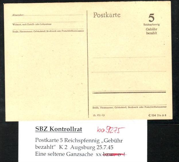 Zonen Ganzsache     (ba 9275  ) siehe scan !