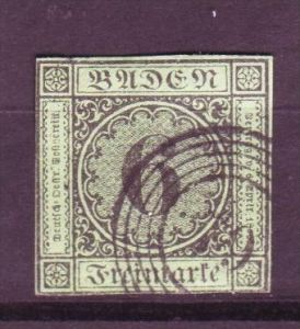 Baden  Nr.  3a   ( y8893   ) siehe scan vergrößert !