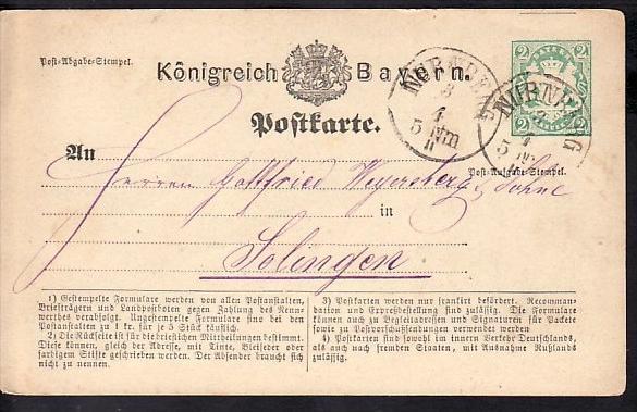 Bayern Ganzsache-Karte  (zz3999 ) siehe scan  !
