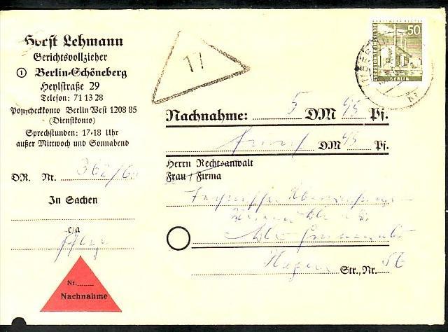 Berlin Nachnahme Beleg - bedarf    ( zz3982 ) siehe scan  !