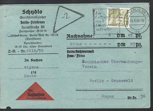 Berlin Nachnahme Beleg - bedarf    ( zz3981 ) siehe scan  !