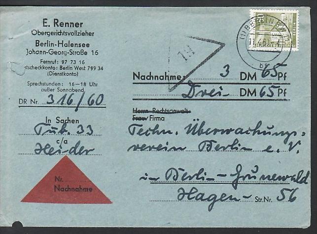 Berlin Nachnahme Beleg - bedarf    ( zz3979 ) siehe scan  !